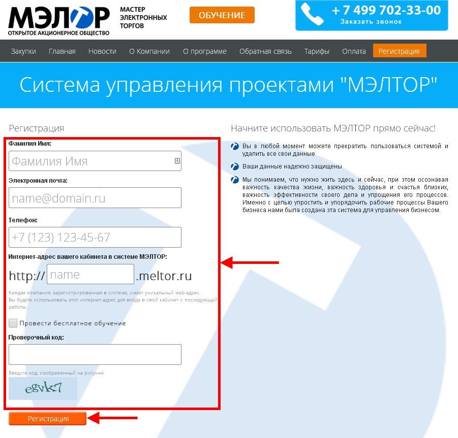 регистрация в системе Meltor