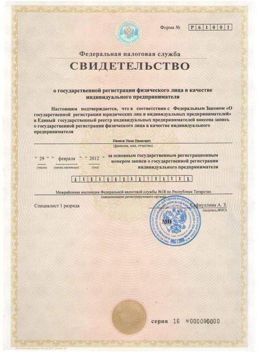 свидетельство о гос регистрации физ лица